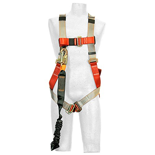 Madaco Roof Construction Fall Protection Full Body Industrial Safety Harness Internal Shock Absorbing 6FT Lanyard Kit Size M-XXL ANSI OSHA Combo F by Madaco Safety Products