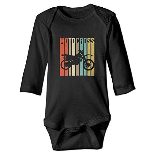 (Cool Vintage Motocross Dirt Bike Silhouette Baby Boys' Girls' Long-Sleeve Bodysuits)