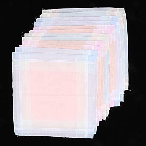ハンカチ 綿 メンズ チェック柄 コットンハンカチ パーティー 吸湿性 30 x 30 cm 12ピースセット