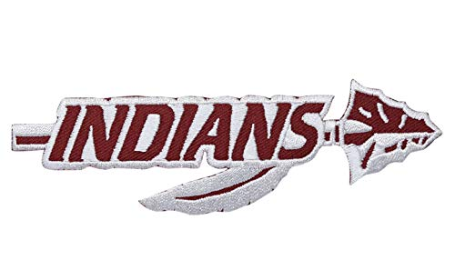 Maroon and White Indians Arrow Spear Iron on Embroidered Applique Patch