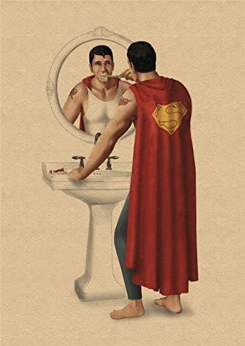 Marvel Super-H/éros Batman Toilette Affiche Dr/ôle Mur Art Affiches R/étro Kraft Papier Imprime Mur Photos Pour Salle De Bains D/écor 30X21Cm Purpl