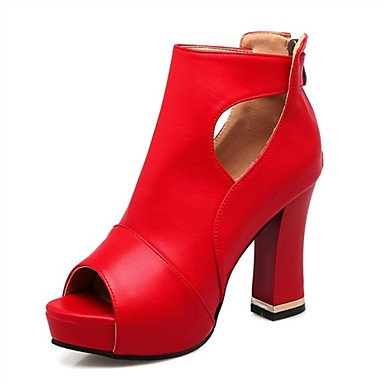 LvYuan Tacón Robusto-Confort Innovador Zapatos del club-Sandalias-Boda Vestido Informal-Materiales Personalizados Semicuero-Negro Rojo Blanco Black