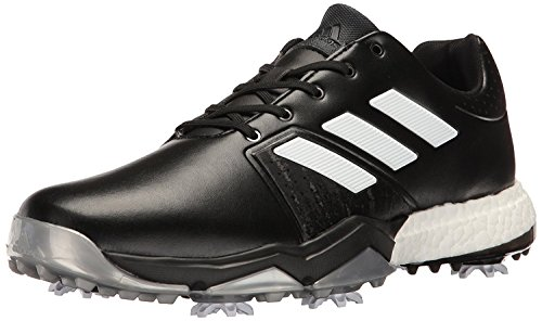 adidas Men's Adipower Boost 3 Golf Shoe, Black/White/Silver Metallic, 11 M US
