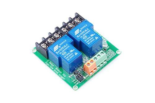 2-Channel Relay Module High / Low Level Triggering Optocoupler Isolation Load 30A DC 30V / AC 250V for PLC Automation Control, Industrial System Control, Arduino (DC - Relay Industrial Slot