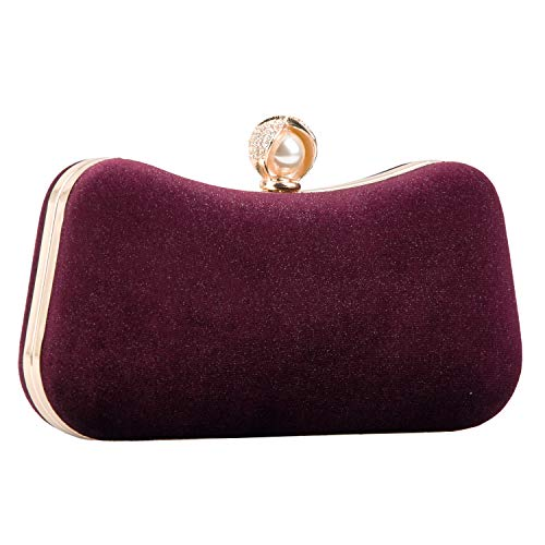 Crossbody Clutch Evening Bag for Women Formal Classic Clutch Purse Totes Wedding Parites Prom Red Wine(Red wine 1)