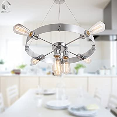 UNITARY BRAND Silvery Round Vintage Barn Metal Hanging Ceiling Chandelier Max. 280W With 7 Lights Chrome Finish