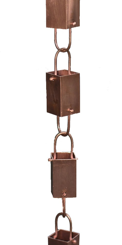 Copper Square Link Rain Chain By Rain Chains Direct (8.5 FT)