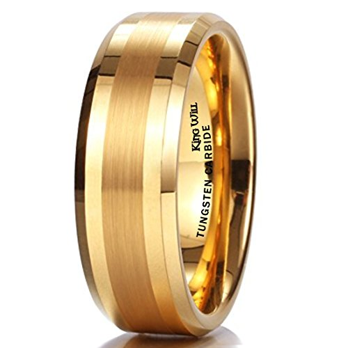 King Will GOLD 8mm Gold Tungsten Carbide Ring Brushed Center Mens Wedding Band Comfort Fit(12) ()