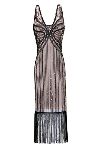 Metme Women's Vintage 1920s Inspired Fringed Art Deco Gatsby Evening Party Dress ... -