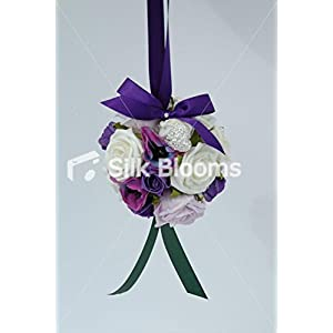 Lilac Ivory and Purple Rose and Anemone Pomander for Flower Girl 2