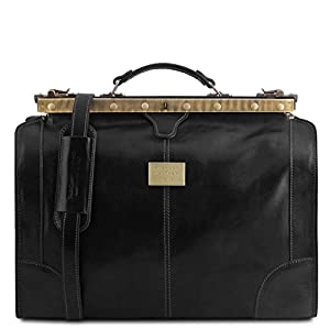 Tuscany Leather – Madrid – Gladstone Leather Bag – Small Size Black – TL1023/2