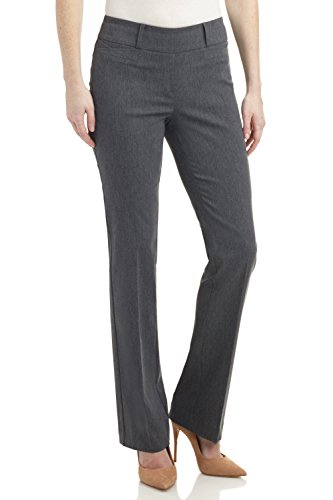 Rekucci Women's Ease in to Comfort Fit Barely Bootcut Stretch Pants (10,Charcoal) (Slim Womens Wool Stretch Pant)