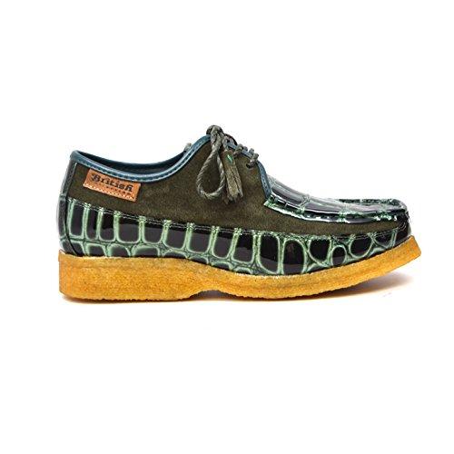 Collection Britannique - Couronne Croc Daim Et Croc Lacent Hommes Chaussures Croco Vert