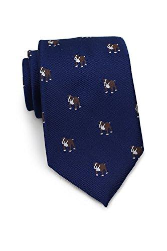 - Bows-N-Ties Men's Necktie Bulldog Print Silk Matte Ties 3.1 Inches (Navy)