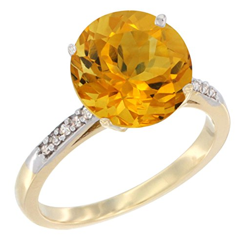 14k Yellow Gold Citrine Ring - 14K Yellow Gold Natural Citrine Ring Round 10mm Diamond accent, size 7.5