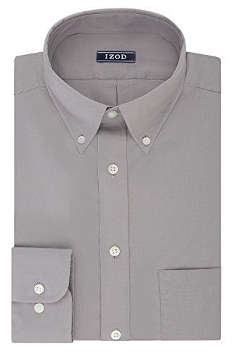 IZOD Men's Regular Fit Stretch Solid Buttondown Collar Dress Shirt, Slate, 18