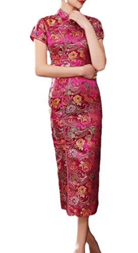 Jaycargogo Femmes Robe Crayon Rétro Floral Cheongsam Robe De Satin Imprimé 5