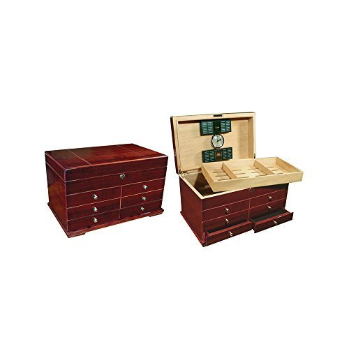 Prestige Import Group 300 Ct. High Gloss Lacquer Cherry Humidor w/ Drawers by Prestige Import ()