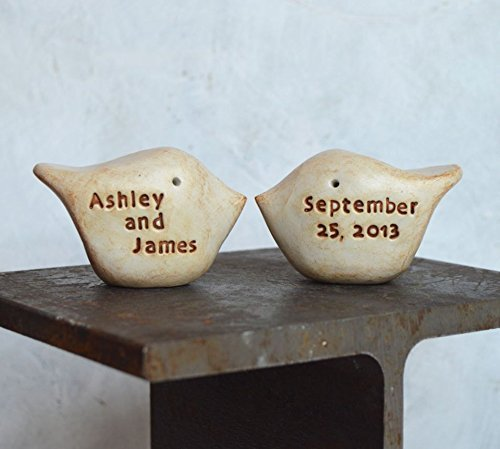 Wedding cake topper, clay lovebirds personalized with your names and wedding - Long How Usps Priority Mail