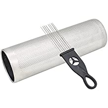 """ammoon Stainless Steel Guiro 12"""" * 4"""" Percussion Instrument Musical Training Tool with Scraper"""
