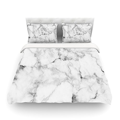 Best Review Of Kess InHouse Kess Original White Marble Gray White Twin Cotton Duvet Cover, 68 by 88-...