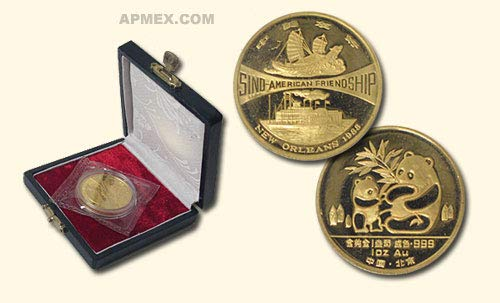 1988 CN China 1 oz Proof Gold Panda (New Orleans w/Box & COA) 1 OZ About Uncirculated