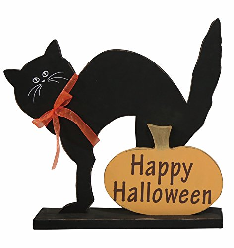One Holiday Lane Wooden Black Cat Happy Halloween Sign - Tabletop Halloween Decoration -