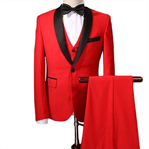 YFFUSHI Mens One Button 3 Piece Suit Slim Fit Blazer Jacket Vest & Trousers(XX-Large, (Notch Tuxedo Tailcoat)