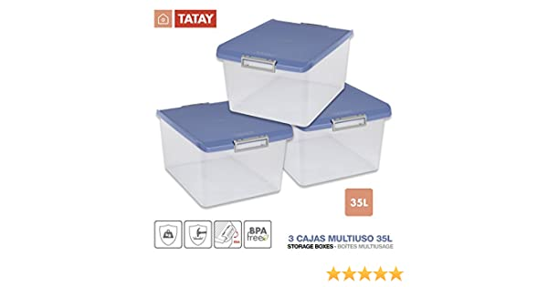 TATAY 1150005 Lote 3 Cajas Multiusos 35 Litros Medidas 48 x 38 x ...