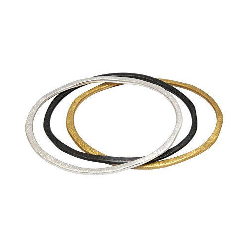 (Takobia Women's Scratched Silver Plated & Gold Flashed & Hematite Plated - Tri Color Bangles Bracelet Set)