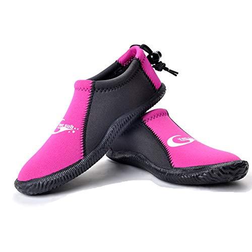 Dive Boots Neoprene Wetsuit Booties Scuba Diving Booties 3MM 5MM for Men Women, Fin Booties Quick-Dry Anti-Slip Water Sports Boots for Surfing Fishing Kayaking (3mm Pink, US Men's 7 / ()