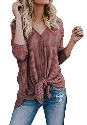 Imily Bela Womens Waffle Knit Tunic Blouse Tie Knot Henley Tops Bat Wing Plain Shirts Rust - Blouse Front Tuck