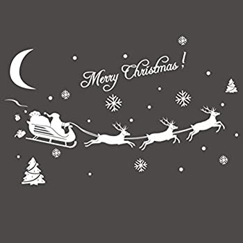 Tinksky Christmas Tree Snowflake Deer Pattern Window Clings PVC Stickers Wall Stickers for Windows Glasses Christmas Decoration Wall Decor (White)