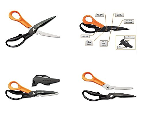 Fiskars Cuts + More Titanium All Purpose Scissors w/ Sharpener and Take Apart Knife (Nitride Scissors Titanium)