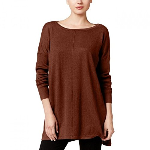 Style & Co. Womens Petites Boat-Neck Ribbed Knit Pullover Sweater Brown PL by Style & Co.