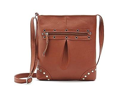 DRF Black Women Messenger Bag Envelope Clutch Bag Pu Leather Rivet Elements Crossbody Shoulder Bag Bgw6