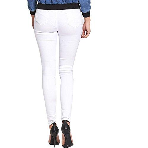 Janisramone para mujer señoras nueva Ripped pierna super skinny White Jeans Front Corte Slim Fit elástico pantalones blanco