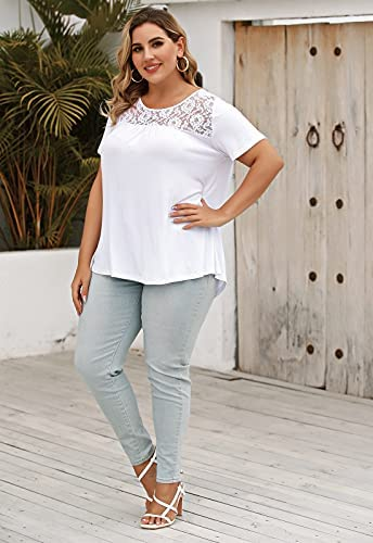 LINJOU Women's Plus Size T Shirts Pleated Flowy Casual Summer Blouses Short Sleeve Tunic Tops