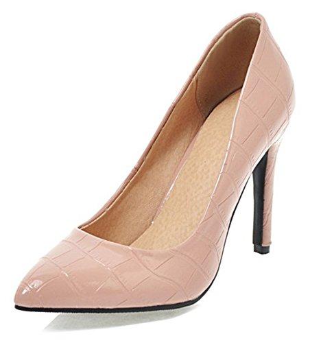 Aisun Donna Sexy Brunito Low Cut Scarpe A Punta Stiletto Tacco Alto Dressy Da Sposa Slip On Pumps Scarpe Rosa