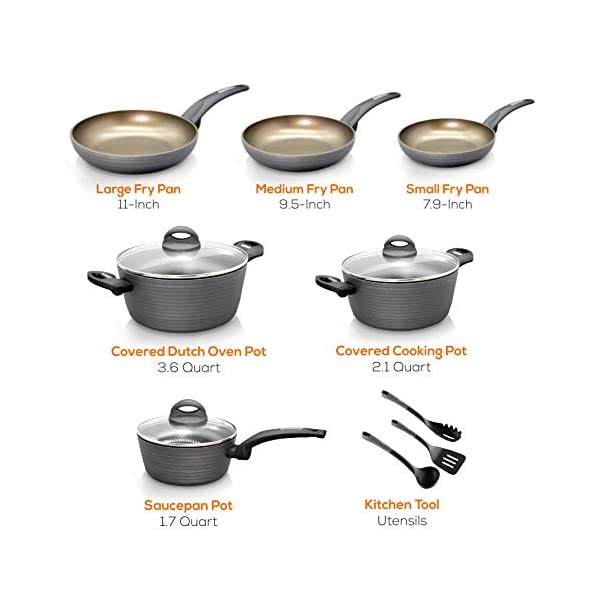 NutriChef 12-Piece Nonstick Kitchen Cookware Set - Professional Hard Anodized Home Kitchen Ware Pots and Pan Set… 3