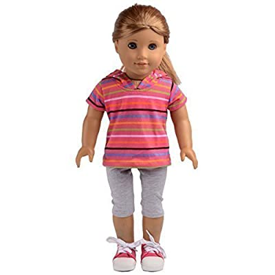 sweet dolly Pink Striped Short Sweater with Hat Pants Sets Fits 18 Inch American Girl Doll Clothes: Toys & Games