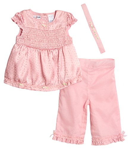 BT Kids Baby Girls' Pink Top with Rosebud Bows and Ruffled Pants Set