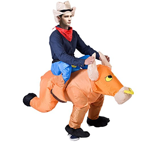 Super buy Waterproof Inflatable Motor Fancy Dress Horse Bull Riders Christmas
