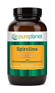 Pure Planet Spirulina -- 500 mg - 200 Vegetarian Capsules