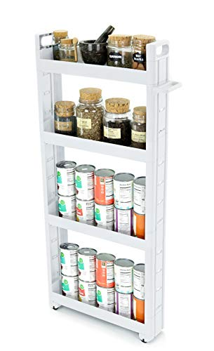 Adorn Home Essentials 4-Tier Narrow, Storage cart Pull-Out, Slide – Out Mobile Commodity Shelf, Rack Organizer Unit on Wheels | Plastic | White