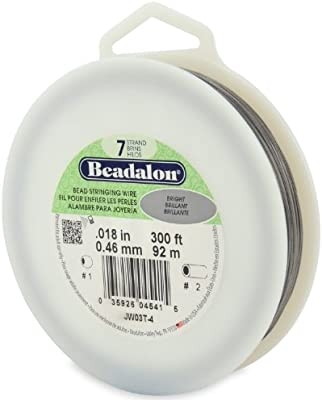 0.46 mm Beadalon 7-Strand 0.018 Bright Bead Stringing Wire, 91.4 m 300 ft