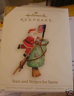 QXE3266 Hallmark Stars and Stripes for Santa Limited Edition 2006 Hallmark Keepsake Ornament Star Santa Ornament