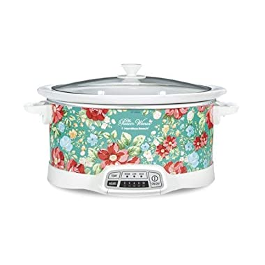 Bring Cheerful and Charming Style to Your Countertop with Beautiful and Stylish Pioneer Woman 7 Quart Programmable Slow Cooker Vintage Floral,Great Addition to Your Kitchen