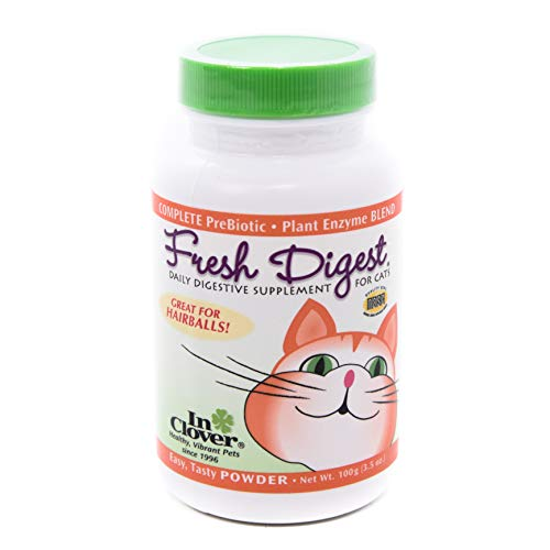 In Clover Fresh Digest Daily Digestive Aid and Immune Support Supplement for Cats, Natural Prebiotic and Enzyme Powder for Healthy Stools, Hairball Control, Stop Litterbox Odor, Works Fast -