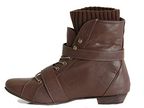 LOW E LADIES PIXIE CHELSEA ANKLE FLAT STYLE 8 RETRO WINTER 3 Brown VINTAGE Style WOMENS SIZE BOOTS HEEL r1raI